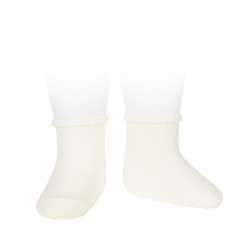 Short socks with patterned cuff BEIGE
