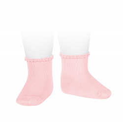 Short socks with patterned cuff PINK