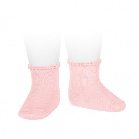 Calcetines cortos puño labrado primavera ROSA