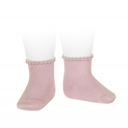 Short socks with patterned cuff PALE PINK