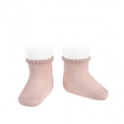 Chaussettes printemps bordure en relief VIEUX ROSE