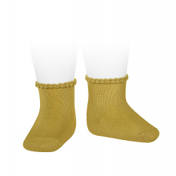 Short socks with patterned cuff MUSTARD