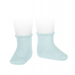Short socks with patterned cuff AQUAMARINE