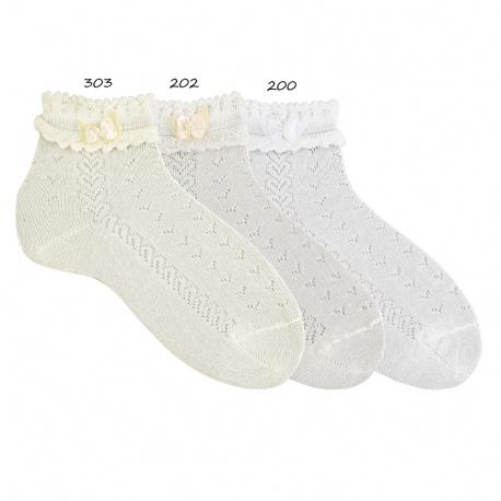 Socquettes cerimonie bordure fantaisie et noeud