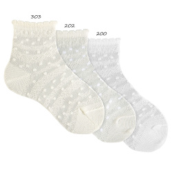 Ceremony transparent ankle socks with border