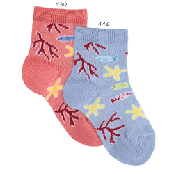 Coral & fishes short socks