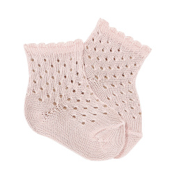 Openwork extrafine perle ankle socks w/fancy cuff