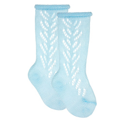 Side openwork extrafine perle knee highsocks