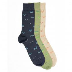 Men seaqual waves embroidery short socks