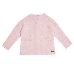 Links stitch openwork sweater PINK