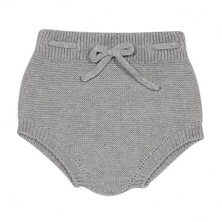 Garter stitch culotte with cord ALUMINIUM