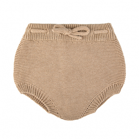 Garter stitch culotte with cord NOUGAT