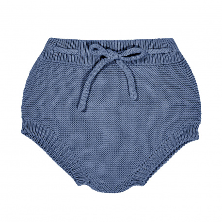 Garter stitch culotte with cord FRENCH BLUE