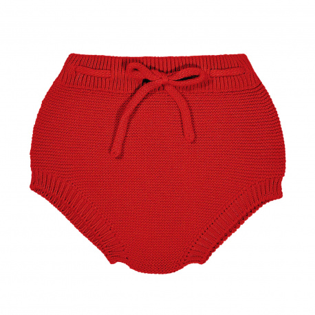 Garter stitch culotte with cord RED