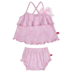 Pink ballerina upf 50 tankini with swimdiapers PETAL