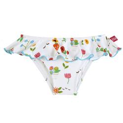 Gardening upf 50 bikini bottom with waist flounce WHITE