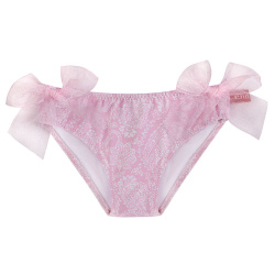 Pink ballerina upf 50 bikini bottom with organza bows PETAL