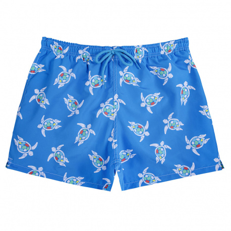 Save the turtles quick dry boxer swimsuit for men ELECTRIC BLUE
