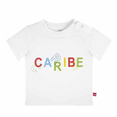 Caribe letters embroidery short sleeve t-shirt WHITE