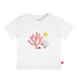 Tee-shirt manches courtes brodé under the sea BLANC