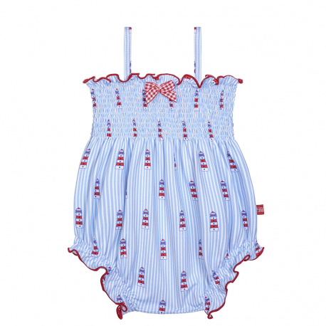 Med riviera upf 50 rompersuit with smock BABY BLUE