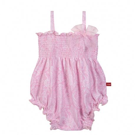 Barboteuse smock pink ballerina noeuds upf50 PETALE