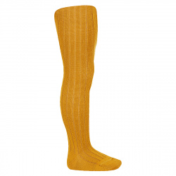Wool rib tights CURRY