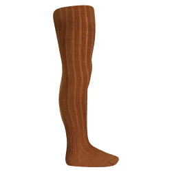 Wool rib tights CHOCOLATE