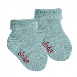 Wool terry short socks with folded cuff JADE