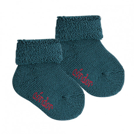 Wool terry short socks with folded cuff OIL COLOUR