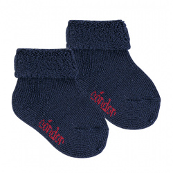 Wool terry short socks with folded cuff NAVY BLUE