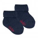 Chausson en laine bordure envers et tissu-éponge BLEU MARINE