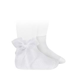 Calcetines cortos punto liso con lazo de organza BLANCO