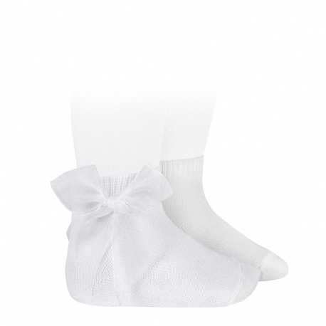 Ceremony short socks with organza bow WHITE