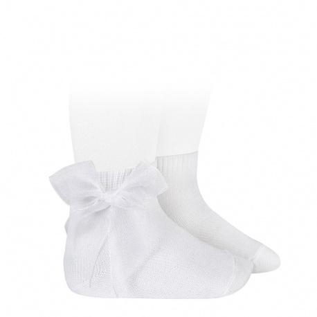 Chaussettes courtes unies noeud organza BLANC