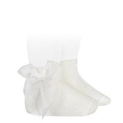 Ceremony short socks with organza bow CREAM