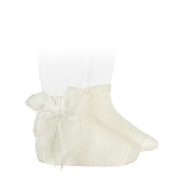 Calze corte maglia rasata con fiocco in organza BEIGE