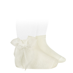 Ceremony short socks with organza bow BEIGE