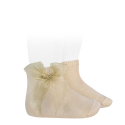 Ceremony short socks with organza bow LINEN