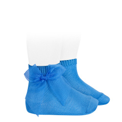 Calcetines cortos punto liso con lazo de organza MAYA