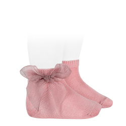 Calcetines cortos punto liso con lazo de organza ROSA PALO