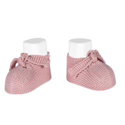 Garter stitch baby booties PALE PINK