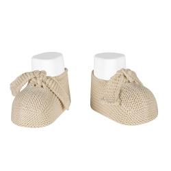 Garter stitch baby booties LINEN