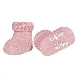 Chausson bébé bordure envers et tissu-éponge PALE ROSE