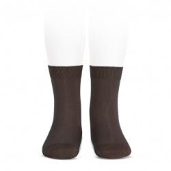Elastic cotton short socks BROWN