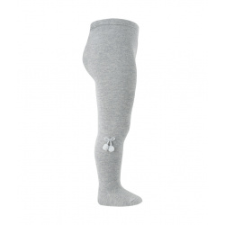 Baby cotton tights with small pompoms ALUMINIUM