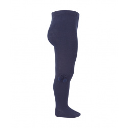 Baby cotton tights with small pompoms NAVY BLUE