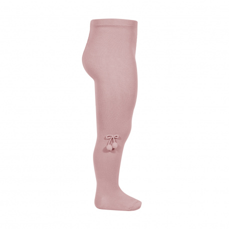 Baby cotton tights with small pompoms PALE PINK