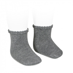 Short socks with openworked cuff LIGHT GREY