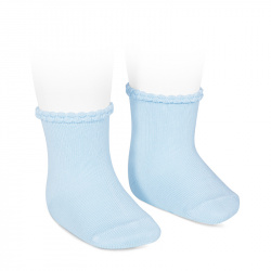 Short socks with openworked cuff BABY BLUE